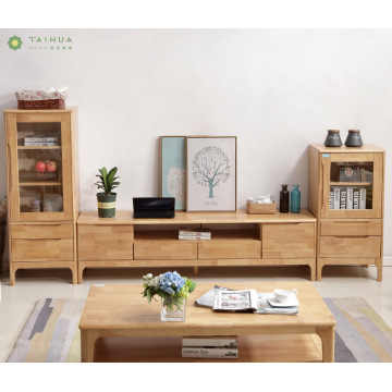Light Brown Solid Rubber Wood TV Unit Cabinets